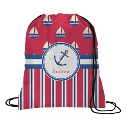 Sail Boats & Stripes Drawstring Backpack (Personalized)