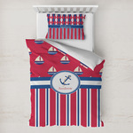Sail Boats & Stripes Toddler Bedding w/ Name or Text