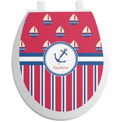 Sail Boats & Stripes Toilet Seat Decal (Personalized)