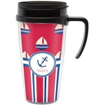 Sail Boats & Stripes Travel Mug with Handle (Personalized)