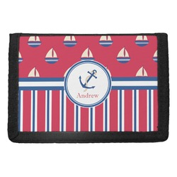 Sail Boats & Stripes Trifold Wallet (Personalized)