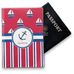 Sail Boats & Stripes Vinyl Passport Holder (Personalized)