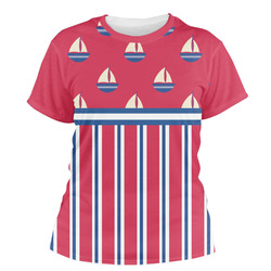 Sail Boats & Stripes Women's Crew T-Shirt (Personalized)