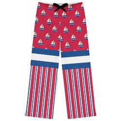 Sail Boats & Stripes Womens Pajama Pants (Personalized)