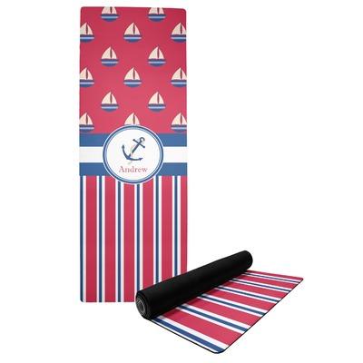Sail Boats & Stripes Yoga Mat (Personalized)