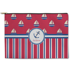 Sail Boats & Stripes Zipper Pouch (Personalized)
