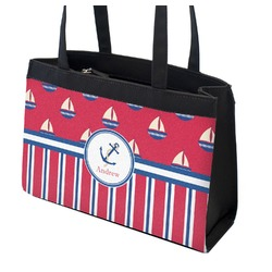 Sail Boats & Stripes Zippered Everyday Tote (Personalized)