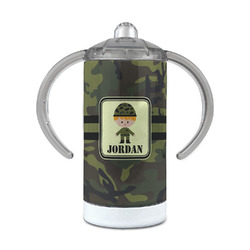 Green Camo 12 oz Stainless Steel Sippy Cup (Personalized)