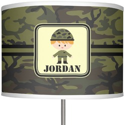 "Green Camo 13"" Drum Lamp Shade (Personalized)"