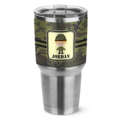 Green Camo Stainless Steel Tumbler - 30 oz (Personalized)