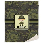 Green Camo Sherpa Throw Blanket (Personalized)