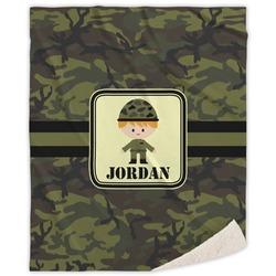 "Green Camo Sherpa Throw Blanket - 60""x80"" (Personalized)"