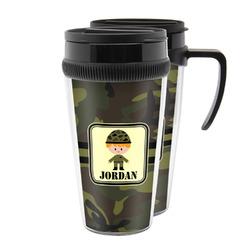 Green Camo Acrylic Travel Mugs (Personalized)