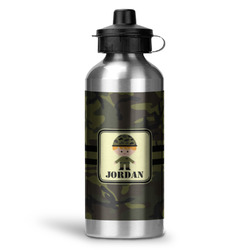 Green Camo Water Bottle - Aluminum - 20 oz (Personalized)