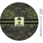Green Camo Glass Appetizer / Dessert Plates 8