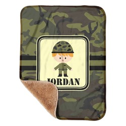 """Green Camo Sherpa Baby Blanket 30"""" x 40"""" (Personalized)"""