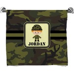 Green Camo Full Print Bath Towel (Personalized)