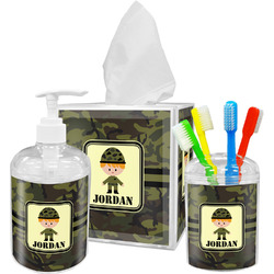 Green Camo Bathroom Accessories Set (Personalized)
