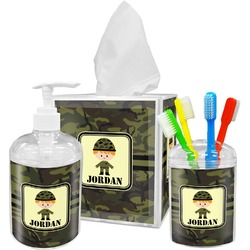 Green Camo Acrylic Bathroom Accessories Set w/ Name or Text