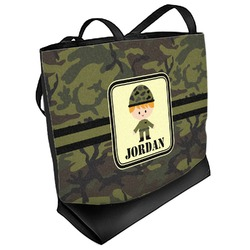 Green Camo Beach Tote Bag (Personalized)
