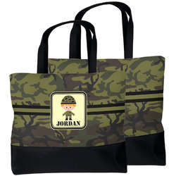 Green Camo Beach Tote Bag (Personalized)