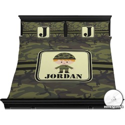 Green Camo Duvet Cover Set - King (Personalized)