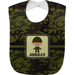 Green Camo Jersey Knit Baby Bib w/ Name or Text