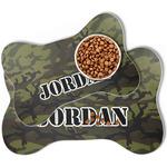 Green Camo Bone Shaped Dog Food Mat (Personalized)