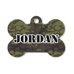 Green Camo Bone Shaped Dog Tag (Personalized)