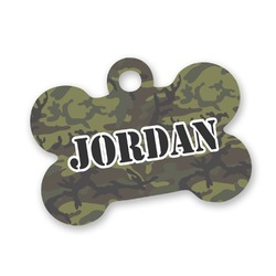 Green Camo Bone Shaped Dog Tag (Personalized)