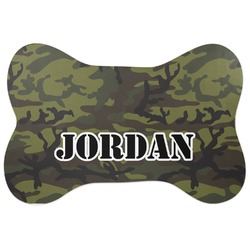 Green Camo Bone Shaped Dog Food Mat (Personalized)