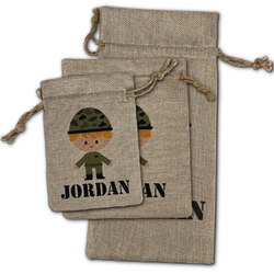 Green Camo Burlap Gift Bags (Personalized)