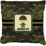Green Camo Burlap Throw Pillow (Personalized)