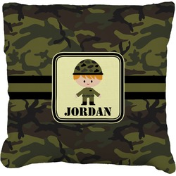 Green Camo Faux-Linen Throw Pillow (Personalized)