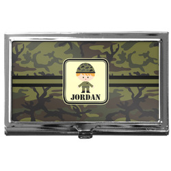 Green Camo Business Card Case