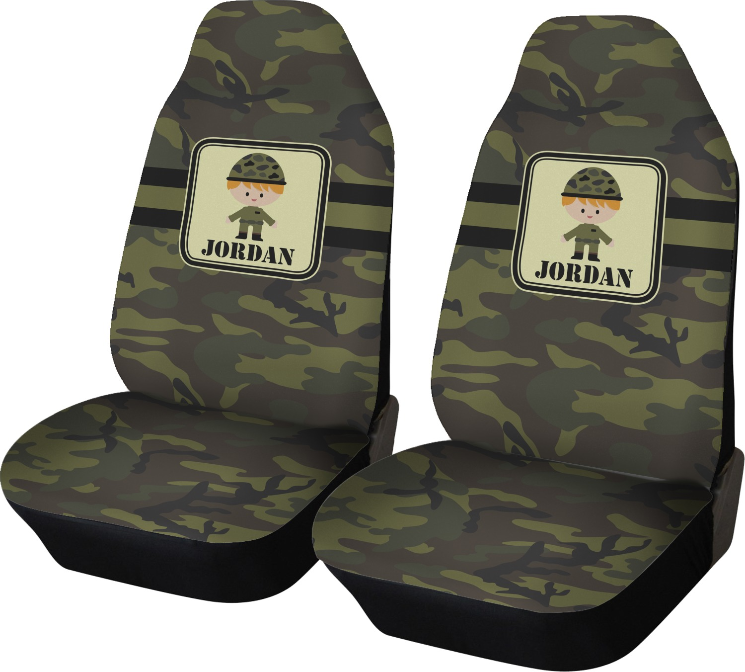 Green Camo Car Seat Covers Set Of Two Personalized