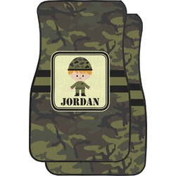 Green Camo Car Floor Mats (Front Seat) (Personalized)