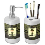 Green Camo Bathroom Accessories Set (Ceramic) (Personalized)