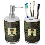 Green Camo Bathroom Accessories Set (Ceramic) (Personalized)