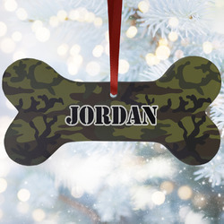 Green Camo Ceramic Dog Ornaments w/ Name or Text