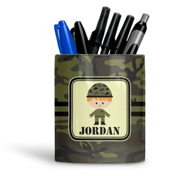 Green Camo Ceramic Pen Holder