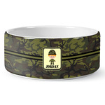 Green Camo Ceramic Dog Bowl (Personalized)