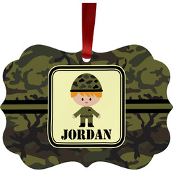 Green Camo Metal Frame Ornament - Double Sided w/ Name or Text