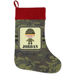 Green Camo Holiday Stocking w/ Name or Text