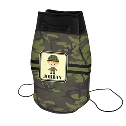 Green Camo Neoprene Drawstring Backpack (Personalized)