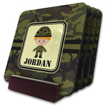 Green Camo Coaster Set w/ Stand (Personalized)