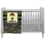 Green Camo Crib Comforter / Quilt (Personalized)