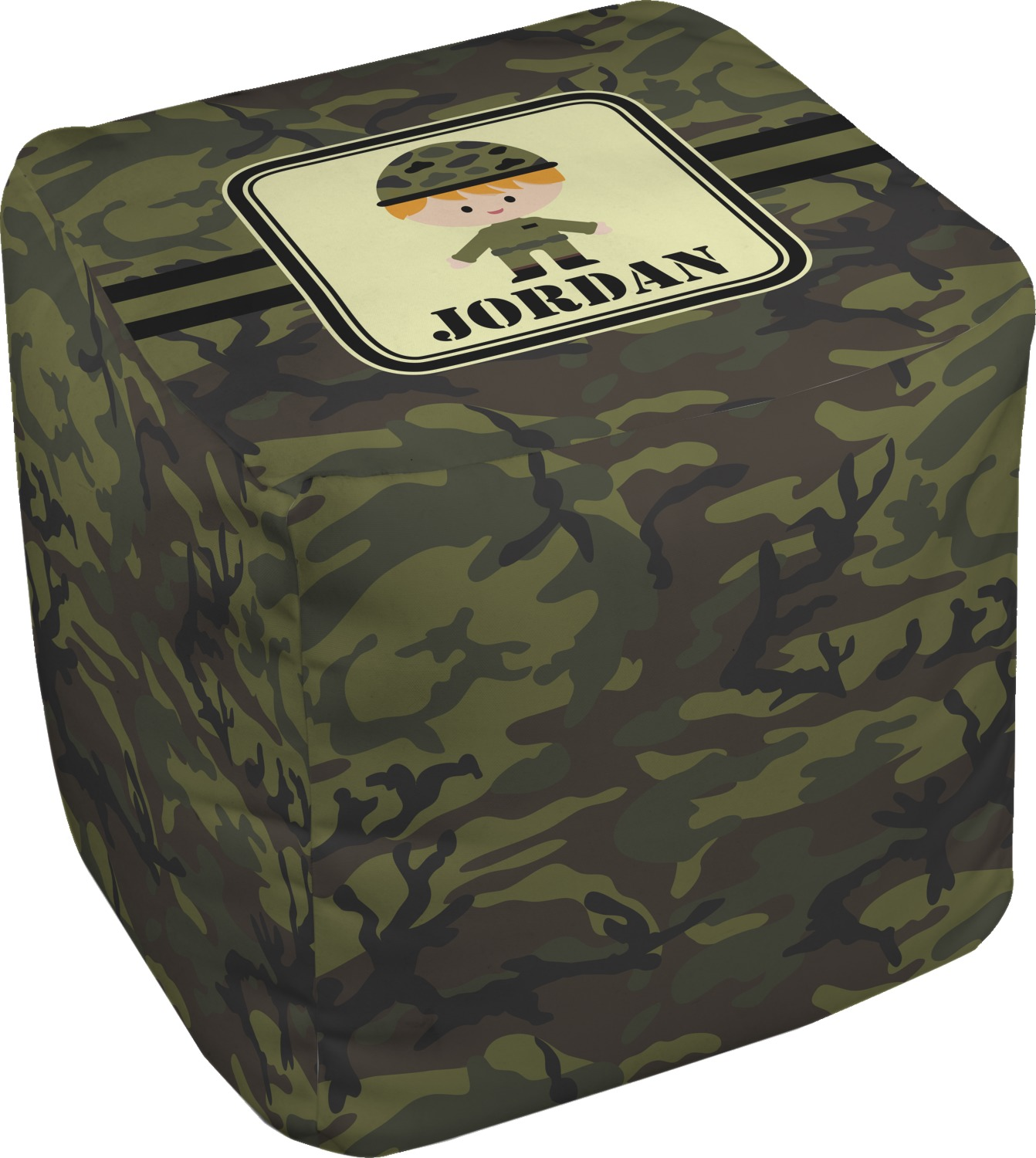green camo cube pouf ottoman 13 personalized rnk shops. Black Bedroom Furniture Sets. Home Design Ideas