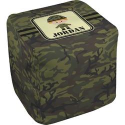 "Green Camo Cube Pouf Ottoman - 18"" (Personalized)"