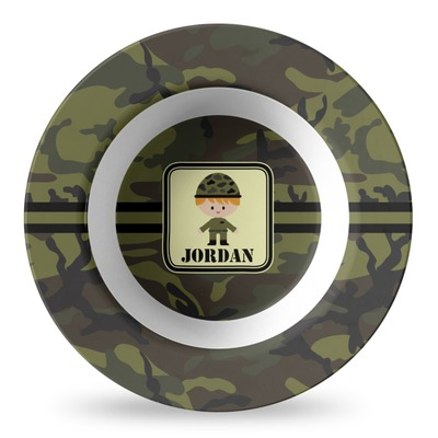 Green Camo Plastic Bowl - Microwave Safe - Composite Polymer (Personalized)